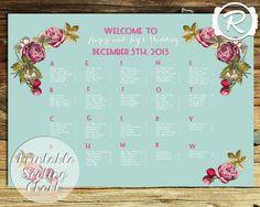 Printable Wedding Seating Chart Floral Wedding by RubyRidgeStudios - Mint and Pink