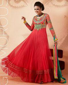 USD 113.5 Pink Faux Georgette Resham Work Floor Length Anarkali Suit 27026
