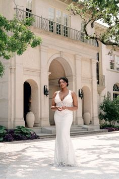 Fit to flare style gown with a v-shape front and back neckline made from infused sparkle lace. Love by Pnina Tornai   Style: 14759XS Lace Wedding Dress With Sleeves, Fit And Flare Wedding Dress, Fit N Flare Dress, Dresses With Sleeves, Pnina Tornai Dresses, Sequin Appliques, Illusion Dress, A Line Gown, Bridal Dresses