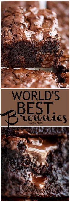 Desserts - Worlds Best Fudgiest Brownies Cafe Delites Best Brownie Recipe, Brownie Recipes, Cookie Recipes, Dessert Recipes, Easy Desserts, Delicious Desserts, Yummy Food, Beste Brownies, Dessert Aux Fruits