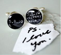 PS i love you - always and forever personalized name, date or quote cufflinks - keepsake groom gift - black and white. $42.00, via Etsy.