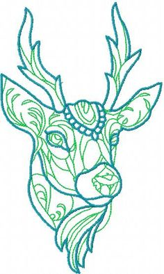 Colored deer embroidery design. Machine embroidery design. www.embroideres.com