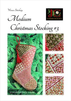 At top-to-toe,# this stocking is stitched in Wessex Stitchery - colour and a touch of sparkle. Big enough to hold those special little items, but small enough to still hang on the tree or mantel. Mini Christmas Stockings, Top To Toe, Embroidery Techniques, Easy Projects, Booklet, Sparkle, Colours, Holiday Decor, Stitches