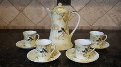 RARE Yellow S&K Nippon Chocolate Pot Set with Pot, 4 cups and saucers ~ BIRD design ~ 10 pc ~ MINT by KatsVintageTreasures on Etsy