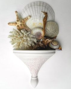 Ocean Display.  #seashells #shelf #decor #starfish #beach