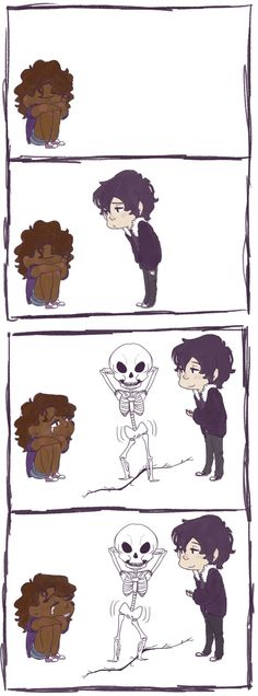 suchastart: You ever think Nico feels awkward when one of his friends is crying, so he just summons a skeleton and makes it dance like this until sad friend is crying from laughter instead | art by merehdoodlz