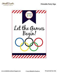 {Free Printables} and {Mirabelle Creations Party} – Summer Olympics Party Mirabelle Creations: Party Sign *** Now Updated for 2016 Olympics *** Olympic Idea, Olympic Games, Olympic Crafts, Office Olympics, Summer Olympics, Senior Olympics, Kids Olympics, Special Olympics, Games