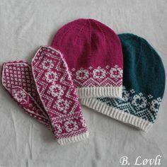 Beas Strikke Design – Strikkeoppskrifter og ferdigstrikk Norwegian Knitting, Knitting Patterns, Knitting Ideas, Fair Isle Knitting, Mitten Gloves, Crochet, Tatting, Knitted Hats, Needlework