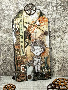 Von Pappe II: Brave Little Robot - Tag - for SanDee&amelie's Steampunk Challenges Crackle Painting, Fluid Acrylics, Paper Background, Amelie, Paper Design, Brave, Robot, Bohemian Rug, Vintage World Maps