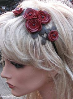 Leather flower headband, crimson red roses moss green leaves on metal hairband