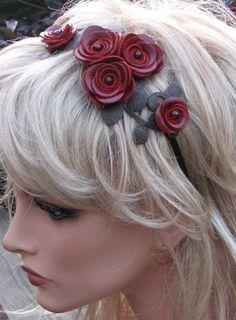 Leather flower headband, crimson red roses moss green leaves on metal hairband