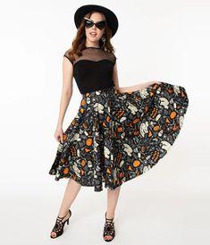 Retro Black Halloween Print High Waist Swing Skirt – Unique Vintage