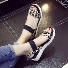 Cheap sandalias mujer, Buy Quality roman sandals directly from China sandals women Suppliers: Summer shoes Hot Selling sandals women 2017 peep-toe flat Shoes Roman sandals Women shoes sandalias mujer sandalias high quality Leopard Fashion, Fashion Boots, Sneakers Fashion, Fashion Sandals, Flat Shoes, Women's Shoes Sandals, Wedge Shoes, Platform Shoes, Flat Sandals
