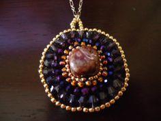PLUM NECKLACE - Handmade Woven Beaded Statement Necklace in Circular Brick Stitch - Pietersite