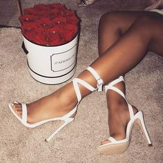 High Heel Sandals White Open Toe Buckle Detail Lace Up Sandal Shoes Women Party Shoes is part of High heel sandals outfit - Lace Up Sandals, Lace Up Heels, Women's Shoes Sandals, Sandals Outfit, Dress Shoes, White Sandals, Strap Sandals, Rhinestone Sandals, Dress And Heels