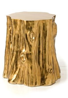 Gold Leaf Stump Side Table, sharing beautiful designer home decor inspirations: luxury living room, dinning room & bedroom furniture,     chandeliers, table lamps, mirrors, wall art, decorative tabletop & bathroom accents & gifts courtesy of     instyle-decor.com Beverly Hills enjoy & happy pinning
