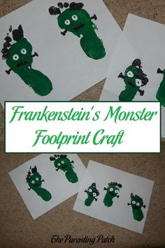 For a super fun and non-scary Halloween craft, try making Frankenstein's monster with footprints and nontoxic paint.