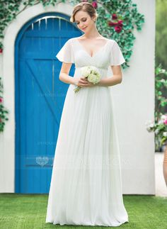 Empire V-neck Floor-Length Beading Pleated Zipper Up Sleeves Short Sleeves Beach Hall Garden / Outdoor General Plus No Spring Summer Fall Ivory Chiffon Wedding Dress