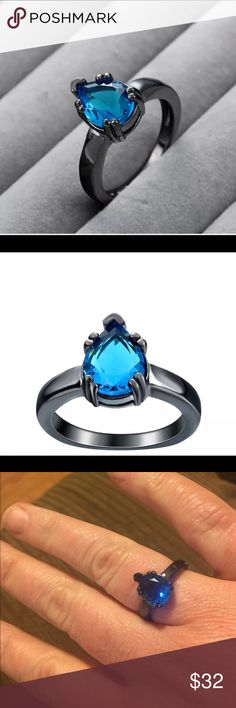 14k black gold filled Aquamarine ring Beautiful Aquamarine lab created Gemstone about 2.5ct in 14k black gold filled double claw prong setting. Jewelry Rings