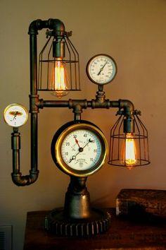Steampunk Lamp Light Industrial Art Machine Age Salvage Steam Gauge   eBay
