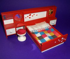 Image detail for -VINTAGE 1970's LUNDBY DOLLS HOUSE RED BEDROOM SUITE BED, HEADBOARD ...