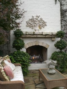 Outdoor with fireplace.