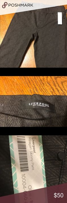 Liverpool Reagan Skinny Pants Olive green color with gray zig zag mellow print. Never worn. Size 8 Liverpool Jeans Company Pants Skinny
