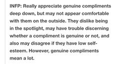 INFP's and compliments