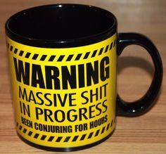 WARNING Massive Sh*t In Progress HUGE Ceramic Coffee Mug Cup Gag Gift Funny Mug #Unbranded