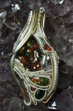silver, 14k gold fill wire, fire agate, ammolite, tourmaline, chrome diopside, spinel, rhodochrosite, tanzanite, emerald