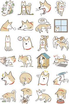 33 Trendy ideas for dogs illustration shiba Shiba Inu, Cartoon Drawings, Cute Drawings, Animal Drawings, Dog Illustration, Illustrations, Doodles, Cute Stickers, Dog Art