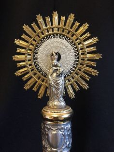 Our Lady of the Pillar -- Sterling Silver -- Vintage Altar Relic