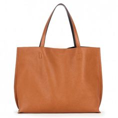 Women's Cognac Black Faux Leather Reversible Tote W/ Pouch | Milan by Sole Society