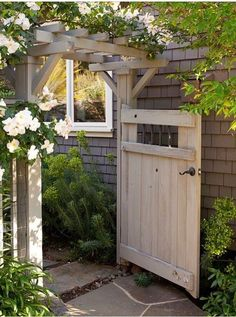 The wooden pergola is a good solution to add beauty to your garden. If you are not ready to spend thousands of dollars for building a cozy pergola then you may devise new strategies of trying out something different so that you can re Backyard Door, Backyard Fences, Backyard Landscaping, Landscaping Ideas, Fenced Garden, Farmhouse Landscaping, Backyard Privacy, Backyard Designs, Back Gardens