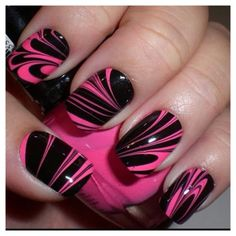 Nail Art Design - Pink Black Water Marble