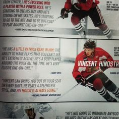 The Chicago Blackhawks are apparently looking forward to seeing much more of Vince Hinostroza. This is from their official game program.
