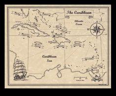 Antiqued Caribbean Pirate Treasure Map of The Carribean Art Print Decor Booty | eBay