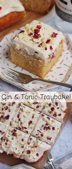 A Delicious and Delectable Gin and Tonic Traybake Cake with Gin and Tonic Drizzled Sponge and Gin Infused Buttercream Frosting! Tray Bake Recipes, No Bake Desserts, Baking Recipes, Cake Recipes, Dessert Recipes, Baking Ideas, Traybake Cake, Traybake Ideas, Gin And Tonic Cake