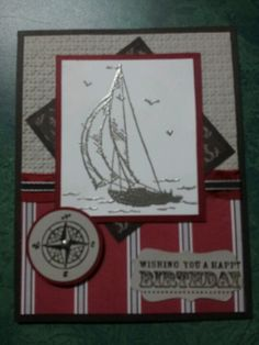 Stampin' Up! A masculine card using Stampin' Up! Sail Away stamp.