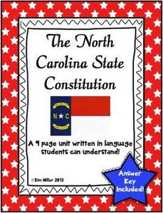 The North Carolina State Constitution!   For students, it's hard to understand the constitution in it's own wording. I have rewritten it in words that students can understand and comprehend. The background of our state constitution is given with regards to the 3 times it has been written. The three branches of government are included and it's importance to our state and national government. By: Kim Miller 2013…