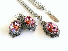 Gothic Jewelry Set Necklace Earrings Swarovski by LeBoudoirNoir