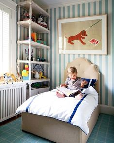 "99 Likes, 2 Comments - Leslie May Designs (@lesliemaydesigns) on Instagram: ""Such a sweet little boy's room by @lizcaan #inspiration #kidfriendly #boysroom #wallpaper #stripes…"""