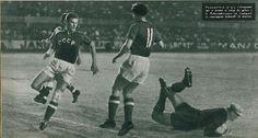 USSR 3 Czechoslovakia 0 in 1960 in Marseille. Czech keeper Villam Schrojf makes a good diving interception in the Semi Final of Euro '60.