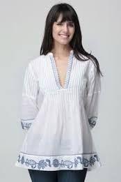 Resultado de imagen para blusas bordadas Casual Chic, Ținute Casual, Denim Fashion, Modă Feminină, Modele De Rochii, Haine La Modă, Design Bluze, Bluză