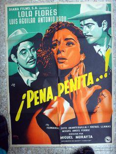 CARTEL CINE , PENA PENITA , LOLA FLORES , MEXICO, ILUSTRADO POR RENAU , 1953 , ORIGINAL - Foto 1