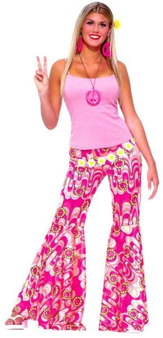 Amazon.com: 60s Hippie Flower Power Bell Bottoms Adult Halloween Costume Size Standard: Clothing