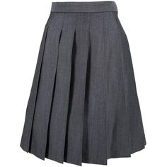 Pre-owned Thom Browne Wool Mid-Length Skirt ($295) ❤ liked on Polyvore featuring skirts, grey, women clothing skirts, mid length skirts, grey skirt, wool skirt, thom browne and gray wool skirt