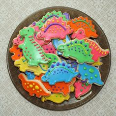Dinosaur Party : Dinosaur cookies for kids dino party : bright and colorful : perfect for snacks and loot bags 3 Year Old Birthday Party Boy, 4th Birthday Parties, Birthday Ideas, Dinosaur First Birthday, Dinosaur Party, Third Birthday, Dinosaur Cakes For Boys, Dinosaur Food, Preschool Dinosaur
