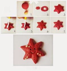 Starfish polymer clay / fondant tutorial - this site is wonderful Fondant Figures, Clay Projects, Clay Crafts, Diy Clay, Decors Pate A Sucre, Sea Cakes, Fondant Animals, Mermaid Cakes, Fondant Toppers