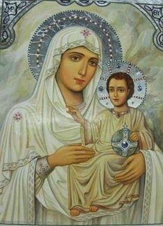 Και Σε μεσίτριαν έχω, προς τον φιλάνθρωπον Θεόν, μη μου ελέγξη τας πράξεις, ενώπιον των Αγγέλων, παρακαλώ σε, Παρθένε, βοήθησόν μοι εν... Religious Icons, Religious Art, Hail Holy Queen, Pictures Of Christ, Queen Of Heaven, Mama Mary, Catholic Religion, Blessed Mother Mary, Biblical Art